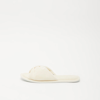 Textured Open-Toe Slip-On Bedroom Slippers