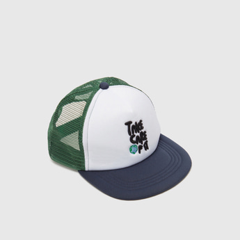 Text Embroidered Detail Cap with Snap Closure