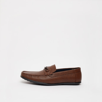 Textured Slip-On Loafers with Braid Detail