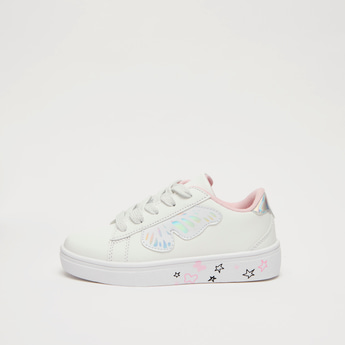 Butterfly Applique Sneakers with Lace-Up Closure