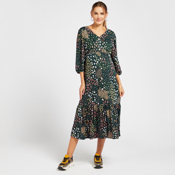 Floral Print Maternity Midi A-line Dress with Collar and 3/4 Sleeves