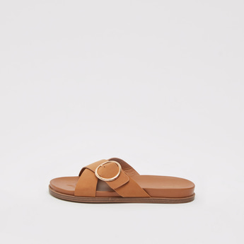 Solid Flat Slides with Cross Strap Pattern and Buckle Detail