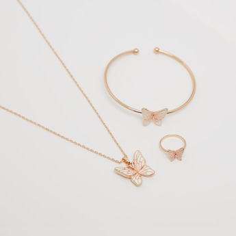 Butterfly Themed Necklace with Bracelet and Finger Ring