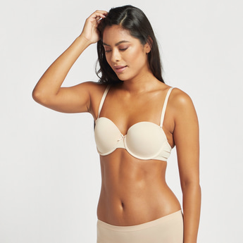 Textured Balconette Bra with Hook and Eye Closure