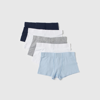 Set of 5 - Solid Trunks with Elasticised Waistband