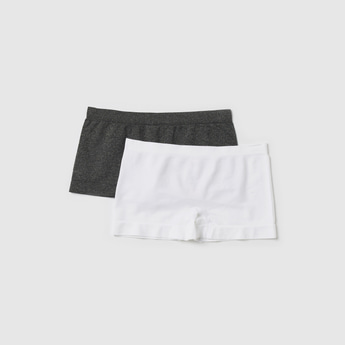 Set of 2 - Solid Boyshorts with Elasticated Waistband