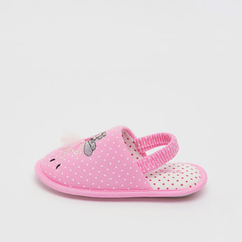 Printed Bedroom Slides with Applique Detail and Elasticised Strap