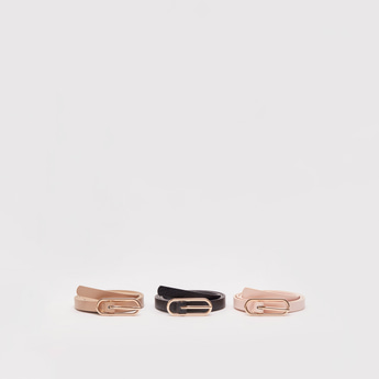 Set of 3 -Textured Skinny Belt with Buckle Closure