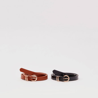 Pack of 2 - Assorted Skinny Belts with Pin Buckle Closure