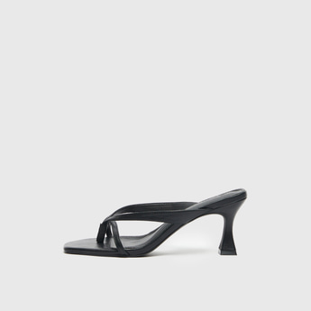 Solid Slip-On Sandals with Spool Heels