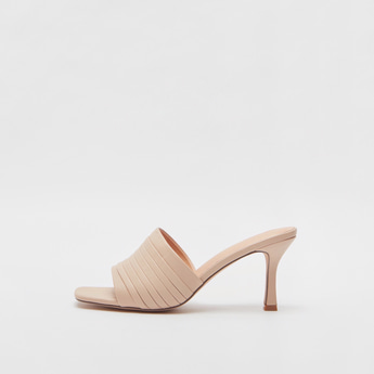 Pleated Detail Heel Sandals