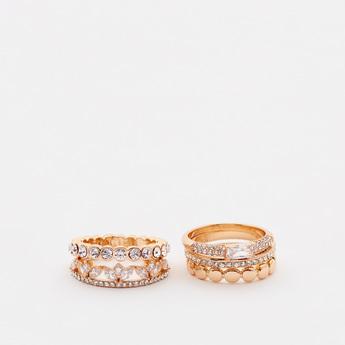 Set of 5 - Embellished Finger Rings