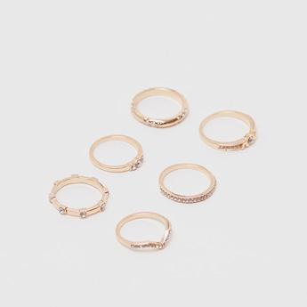 Set of 6 - Stone Studded Finger Ring