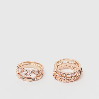 Set of 5 - Assorted Embellished Metallic Ring