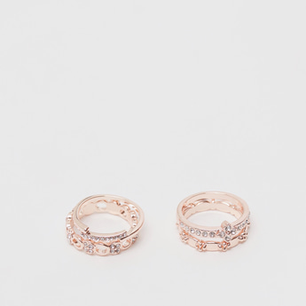 Set of 4 - Assorted Embellished Metallic Ring