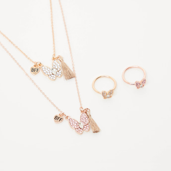 Set of 2 - BFF Studded Pendant Necklace and Finger Ring