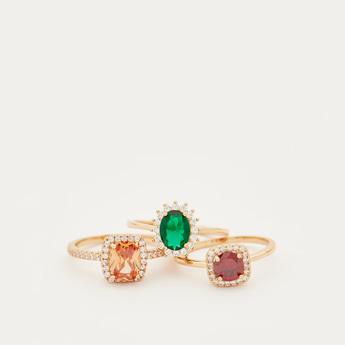 Set of 3 - Embellished Finger Rings
