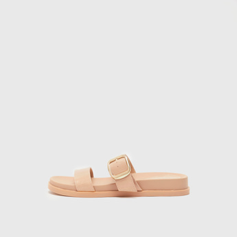 Textured Slip-On Sandals with Pin Buckle Detail Straps