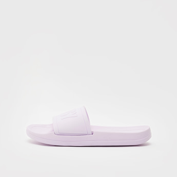 Solid Slip-On Beach Slippers with Embossed Mid-Strap
