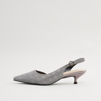 Textured Mules with Kitten Heels and Pin Buckle Closure