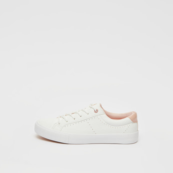 Solid Lace-Up Shoes with Perforation Detail