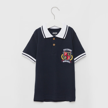 Logo Embroidered Polo T-shirt with Short Sleeves