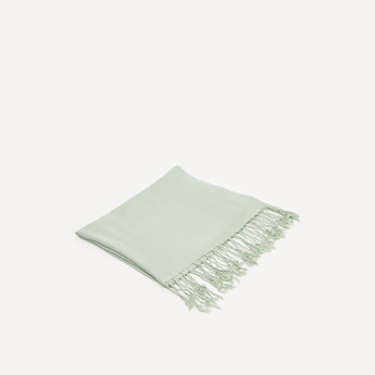Solid Pashmina Scarf with Tassels