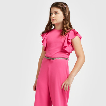 Solid Jumpsuit with Cap Sleeves and Belt Detail
