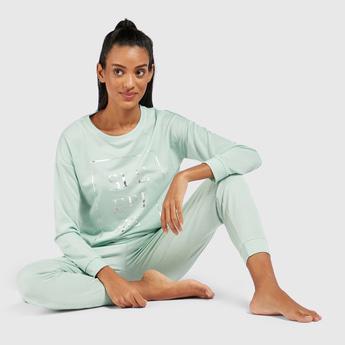 Graphic Print Long Sleeves Sweatshirt and Solid Pyjama Set
