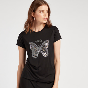 Embellished T-shirt with Round Neck and Cap Sleeves