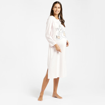 Printed Maternity Sleepshirt with Round Neck and Long Sleeves