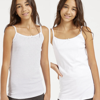 Set of 2 - Assorted Vest with Scoop Neck and Lace Detail