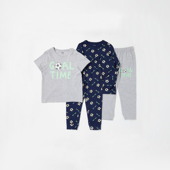 Set of 2 - Football Graphic Print T-shirt and Full Length Pyjamas