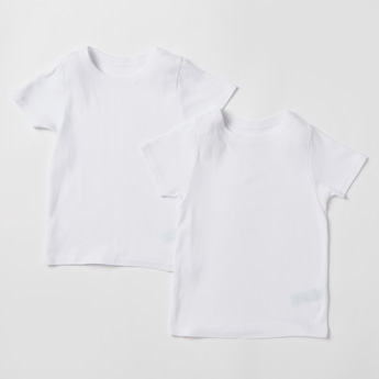 Set of 2 - Solid Vest with Round Neck and Short Sleeves