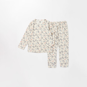 Printed Soft-Touch Round Neck T-shirt and Full Length Pyjama Set