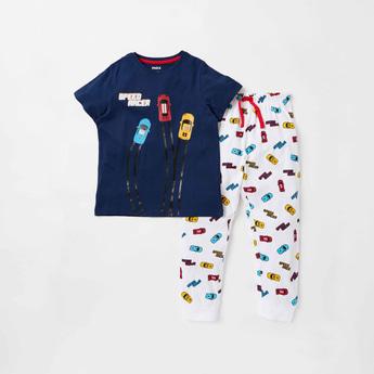 Racer Car Print Short Sleeves T-shirt and Full Length Pyjama Set