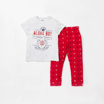 Nautical Themed Print T-shirt and Full Length Pyjama Set