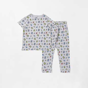 All-Over Robot Print T-shirt and Full Length Pyjama Set