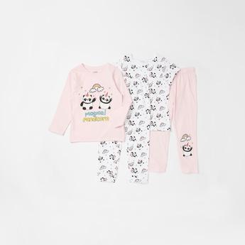 Set of 4 - Printed Round Neck T-shirt with Full Length Pyjamas