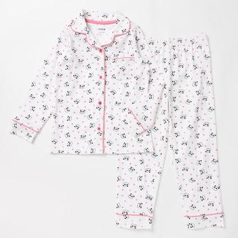 Panda Print Collared Shirt and Pyjama Set