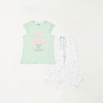 Flamingo Print T-shirt and Full Length Contrast Pyjama Set