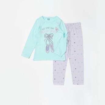 Ballerina Print T-shirt and Full Length Pyjama Set
