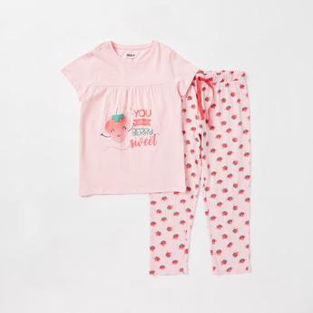 Strawberry Print Cap Sleeves T-shirt and Full Length Pyjama Set