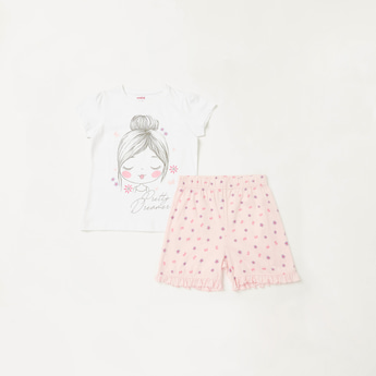 Graphic Print Cap Sleeves T-shirt with Shorts Set