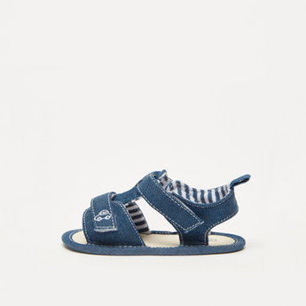 Stitch Detail Sandals with Hook and Loop Closure
