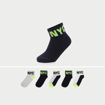 Pack of 5 - Textured Ankle Length Socks with Cuffed Hem