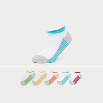 Set of 5 - Striped No Show Slip-On Socks