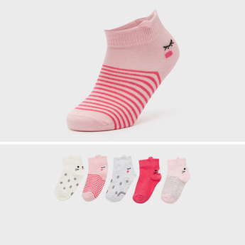 Pack of 5 - Printed Ankle-Length Socks with Elasticised Waistband