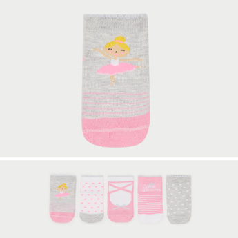 Set of 5 - Graphic Print Ankle Length Socks with Scalloped Hem