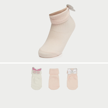 Pack of 3 - Textured Ankle Length Socks with Applique Detail
